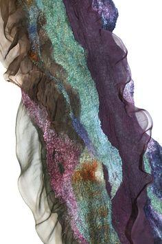 "Superfine Australian merino wool, Mulberry silk, silk chiffon fabric. Length 76 3/4"" (195 cm) Width 12 1/4 "" (31 сm)"