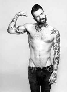 ricki hall model, fabulous hair, beard, body and tattoos Inked Men, Inked Guys, Neck Tattoo For Guys, Tattoos For Guys, Barba Sexy, Ink Tatoo, Men's Grooming, Ricki Hall, Old School Style