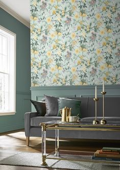 Graham & Brown Flourish Duck Egg Wallpaper w Wallpaper Design For Bedroom, Wallpaper Designs For Walls, Home Wallpaper, Flower Wallpaper, Designer Wallpaper, Paint Wallpaper, Botanical Wallpaper, Wallpaper Patterns, Wallpaper Decor