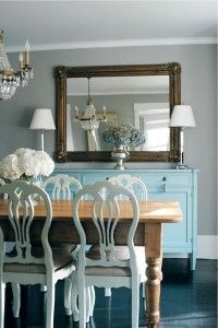 Swedish Furniture & Decor Ideas - Farmhouse Table Combined with Painted Cream Chairs and Turquoise Painted Buffet