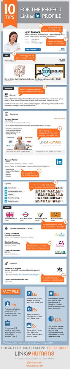 Tips for LinkedIn Profile #LinkedIn-Marketing #Infographic