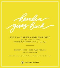 TONIGHT join us at Kendra Scott Tampa for sips & sweets!  Stop by and shop with us or call in your order between and 5-7pm and 20% of all proceeds this evening will be donated to Komen Florida Suncoast. You can shop the collections including the new Kendra Scott Winter 2016 collection or design your own beautiful creation from the selection of amazing natural stones.  If you are unable to attend but still want to support Komen FL Suncoast you can call the store between 5-7pm to place a phone…