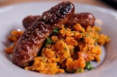 Nigel Slater's mustard & lemon sausages with carrot mash - makes enough for 8 pork and 4 veggie sausages.
