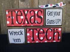 Wooden Blocks  TEXAS TECH UNIVERSITY  Red by Memoriesoffaith, $23.00
