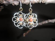 Chainmail Flower Earrings. $10.00, via Etsy.