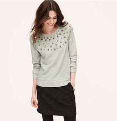 Fair Isle Embellished Sweatshirt | Loft