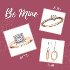 Rose Gold jewellery for your Valentine! Jewelry For Her, Rose Gold Jewelry, Stone Jewelry, Gold Jewellery, Valentines Jewelry, Diamond Rings, Jewelry Stores, Gift Guide, Custom Design