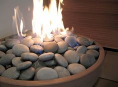 "Hemi 26"" Fire Pit with river rock in Truffle with dark grey stones 