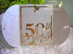 by Stamping with Bibiana: Open  View. NEW: 50th Anniversary Gatefold Petal Card using the Bubble arch die and the 50th celebration die from Memory Box. details at my blog