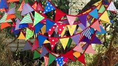 Reusable Fabric Bunting / Flags / Pennants Birthday party spots strip and plain colours