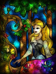 Briar Rose stain glass art