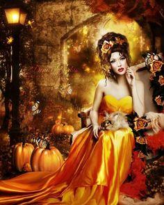 Digital Fantasy Art, Autumn Fairy in Orange