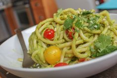 Creamy Avocado Pesto Recipe.  For all you avocado lovers, this is a must try.  It's  got a much better nutritional profile than fettucini alfredo or any other pasta with cream sauce because the creaminess is from avocados!  Use whole wheat spaghetti though!!