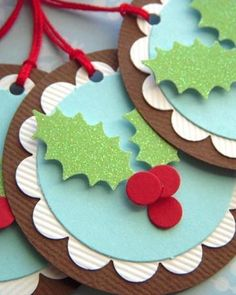 My Stuff / Easy christmas crafts: pine cone elves, felt tree bottle cover, recycled Christmas cards used as monogram labels, little toys tur. Easy Christmas Crafts, Noel Christmas, Christmas Wrapping, Simple Christmas, All Things Christmas, Christmas Cards, Christmas Child, Homemade Christmas, Holiday Gift Tags