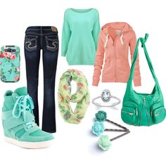 luv how the green and coral work perfect together I Love Fashion, Teen Fashion, Womens Fashion, Fashion Tips, Cool Outfits, Casual Outfits, School Fashion, Autumn Winter Fashion, Spring Outfits