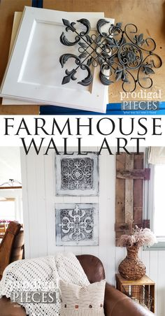 Diy upcycled farmhouse wall decor created by larissa of prodigal pieces using cast-off finds Diy Upcycled Wall Art, Upcycled Home Decor, Diy Home Decor, Repurposed, Farmhouse Wall Art, Farmhouse Decor, Farmhouse Ideas, Farmhouse Style, Over The Top