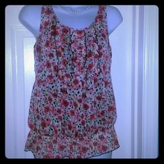 Bright cheery Summer top size Medium Bright cheery Summer top size Medium with elastic bottom & ruffles at breast.Inside tank attached button at back of neck.You could wear this casual or dressy.Gently worn twice.From a smoke free pet free home. Tops