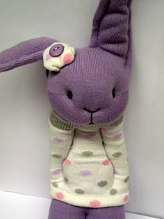 Little Sock Bunny in purple and polka-dots.