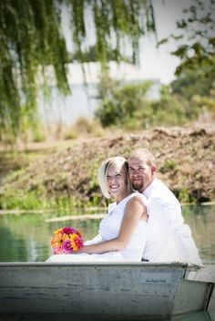 Historic Oakdale Ranch- love the bride and groom in the boat.  Brian Ganyo Photography, Woodland, CA.