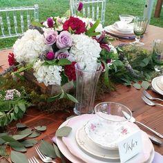 Vintage box centerpiece  hydrangea  roses clover lavender dahlia  Blush Custom Weddings