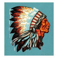 American Indian Chief Profile Láminas por Pop Ink - CSA Images en AllPosters.es