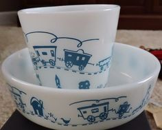 Vintage Rare 2-Pc. Pyrex Children's Dinner Set Blue Train/Cup/Bowl  | eBay