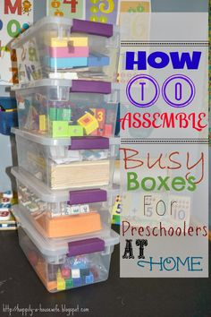 Busy Box, Work Boxes, Preschool Workboxes...whatever you call it something fun for the little ones to keep them busy.