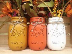 Set of 3 Hand Painted Mason Jars, Autumn, Home Decor, Fall Decor, Centerpiece, Fall Wedding, Thanksgiving, Fall, Shabby Chic, Country Decor