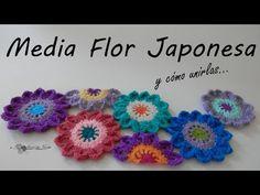 Crochet Square Patterns, Crochet Diagram, Crochet Squares, Half Japanese, Japanese Flowers, Crochet Accessories, Crochet Flowers, Free Pattern, Crochet Necklace