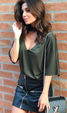 summer outfits Green Blouse + Black Leather Zipped Skirt