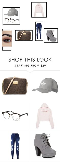 """""""Untitled #108"""" by itsmaria12 ❤ liked on Polyvore featuring MICHAEL Michael Kors, adidas Originals and Ray-Ban"""