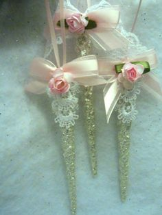 3 sparkling shabby icicle christmas ornaments chic roses glitter