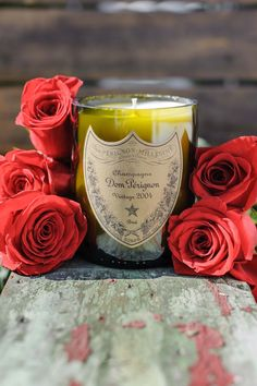 vinatage recycled champagne candle
