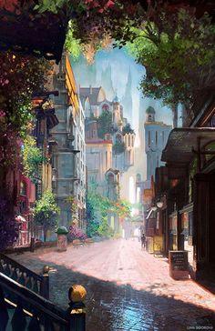 New Art Drawings Fantasy Scenery Ideas Fantasy City, Fantasy Kunst, Fantasy Places, Fantasy World, Fantasy Village, Fantasy Castle, Fantasy Landscape, Landscape Art, Fantasy Art Landscapes