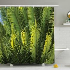 """Ambesonne Palm Tree Foliage Tropical Plant Leaves Forest Exotic Natural Beauty Image Shower Curtain Set Size: 75"""" H x 69"""" W x 1"""" D"""