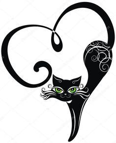 Scarica - Gatto nero con cuori — Illustrazione stock #19556849