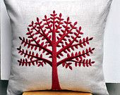 Color Trend 2013 Poppy Red - Red Tree Of Life Throw Pillow Cover, Decorative Pillow for Couch, Linen Pillow Red Tree Embroidery, Red Cushion Cover, Pillow Case 18 x 18