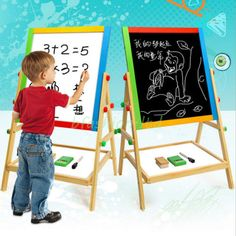 Kids childrens wooden 2 in 1 #blackboard & #whiteboard #easel chalk drawing board,  View more on the LINK: 	http://www.zeppy.io/product/gb/2/131523490482/