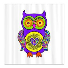 #Purple #Psychedelic #Owl #Shower #Curtain