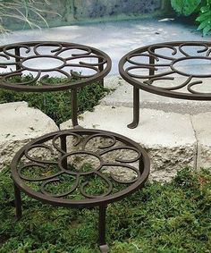 Marshall Home and Garden Chiquito plant stands (set of three) on Zulily. Garden Art, Garden Tools, Home And Garden, Outdoor Metal Plant Stands, Plants For Hanging Baskets, Wrought Iron Decor, House Shutters, House Plants Decor, Flower Stands