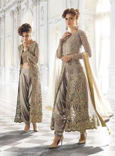 Grey designer wear Indian dhoti style anarkali suit in net