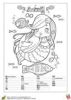 Une sirène et ses amis les poissons pour illustrer le mois d'Avril, à colorier