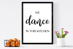 We dance in this kitchen   Kitchen wall art & Kitchen wall decor   Inspire yourself with this kitchen print and cook to your heart's content by SmallMiraclePrints on Etsy