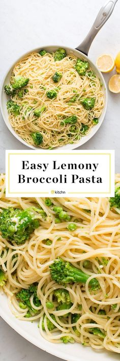 **make with Vegan Parmesan** Lemony Broccoli Pasta Recipe. Need recipes and ideas for quick and easy kid friendly dinners even picky eaters and toddlers will love? This easy, healthy, vegetarian pasta Vegetarian Pasta Dishes, Pasta Dinner Recipes, Easy Pasta Recipes, Vegetarian Recipes Dinner, Easy Meals, Healthy Recipes, Pasta Ideas, Vegetarian Spaghetti, Meatless Pasta Recipes