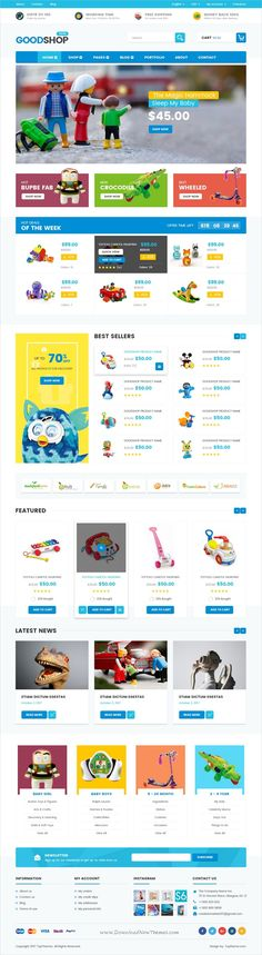 Good shop is a clean and unique design PSD #template for stunning #kids #toys #shop eCommerce website download now➩ https://themeforest.net/item/good-shop-psd-template/19181608?ref=Datasata