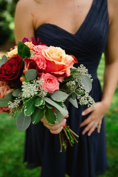 18 Red Wedding Bouquet Ideas: Shades of red and pink roses and greenery + navy blue bridesmaid dress K.Burke Photography, Inc. Rose Wedding Bouquet, Blue Wedding Flowers, Red Wedding, Wedding Colors, Wedding Photos, Wedding Ideas, Copper Wedding, Prom Flowers, Bridal Bouquets
