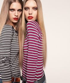 two models, in striped tops in Max Mara Sportmax Code Spring Summer 2011 Ad Campaign