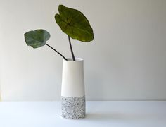 White tall vase with black dash lines Tall Vases, White Vases, Subtle Textures, Home Studio, Line Design, Discount Designer, How To Draw Hands, Planters, Interior Decorating