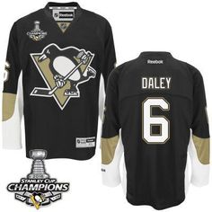Men's Pittsburgh Penguins #6 Trevor Daley Black Team Color Jersey W/2016 Stanley Cup Champions Patch