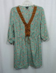 Juniors RUE 21 Green Multi-Color Floral Lace-Up Chest Empire Waist Dress, Size L #rue21 #EmpireWaist #Casual